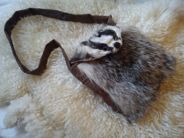 Handmade bag made of badger/sheep